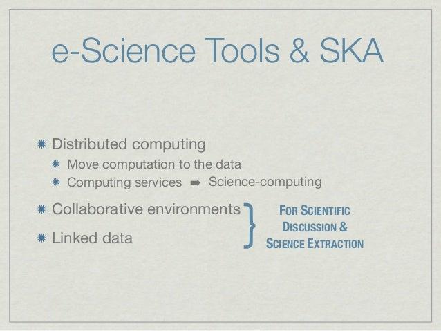 e-Science Tools & SKADistributed computing  Move computation to the data  Computing services ➡ Science-computing          ...