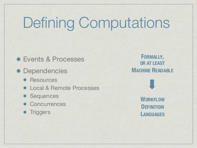 Defining ComputationsEvents & Processes             FORMALLY,                              OR AT LEASTDependencies         ...