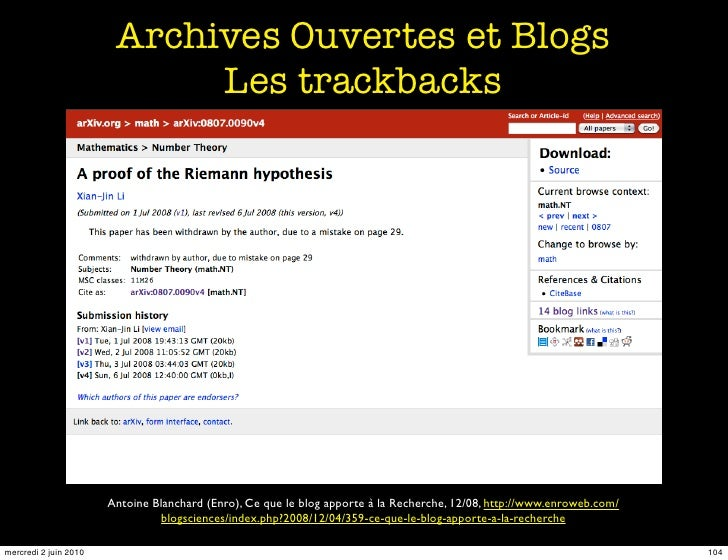 Archives Ouvertes et Blogs                              Les trackbacks                            Antoine Blanchard (Enro)...
