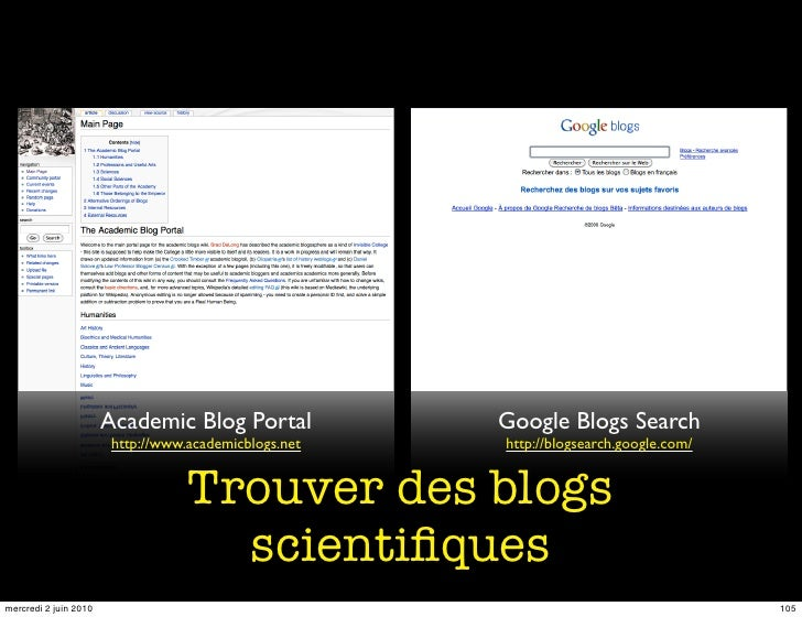 Academic Blog Portal            Google Blogs Search                         http://www.academicblogs.net   http://blogsear...