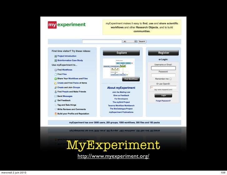 MyExperiment                         http://www.myexperiment.org/  mercredi 2 juin 2010                                   ...