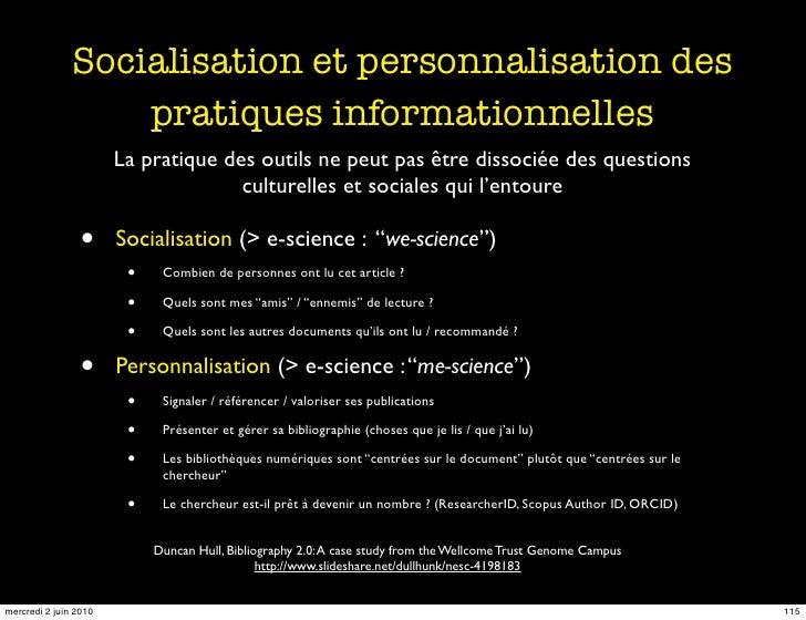 Socialisation et personnalisation des                    pratiques informationnelles                        La pratique de...