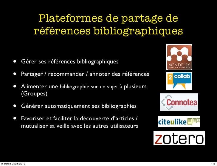 Plateformes de partage de                        références bibliographiques           •      Gérer ses références bibliog...