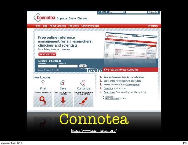 Texte                            Connotea                         http://www.connotea.org/  mercredi 2 juin 2010          ...