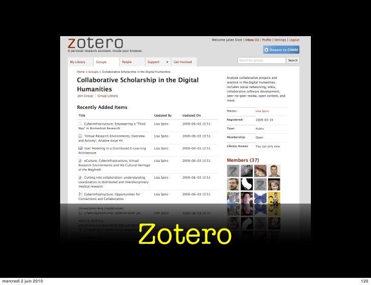 Zotero mercredi 2 juin 2010            120
