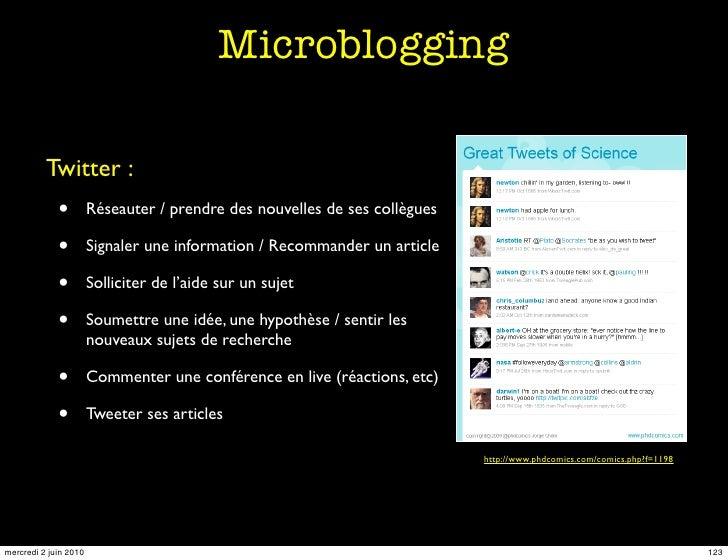 Microblogging            Twitter :              •         Réseauter / prendre des nouvelles de ses collègues              ...