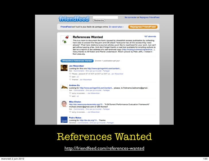 References Wanted                         http://friendfeed.com/references-wanted mercredi 2 juin 2010                    ...
