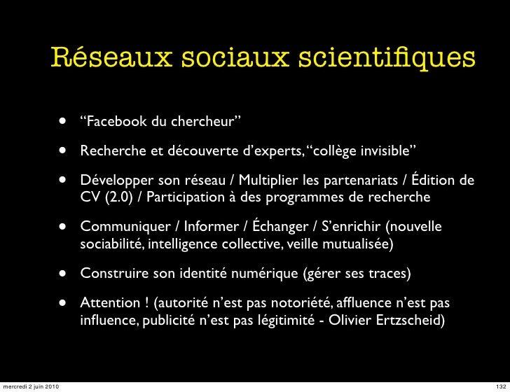 """Réseaux sociaux scientifiques                     •   """"Facebook du chercheur""""                     •   Recherche et découver..."""