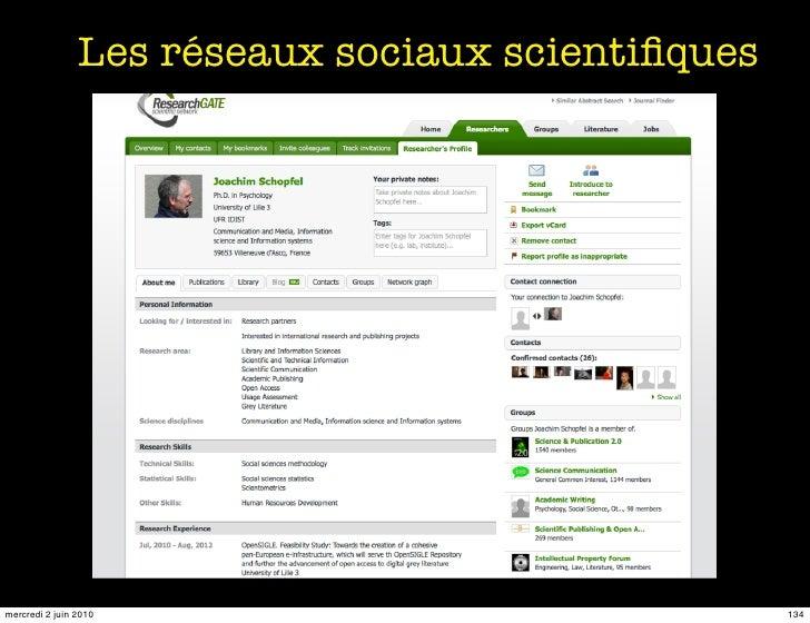 Les réseaux sociaux scientifiques     mercredi 2 juin 2010                               134