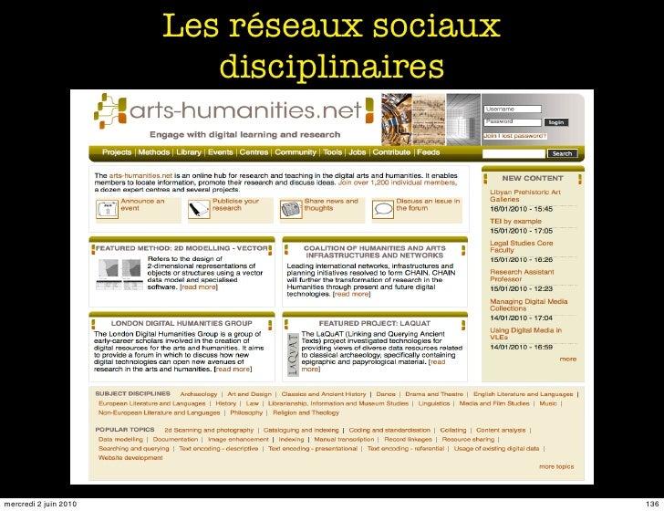 Les réseaux sociaux                           disciplinaires     mercredi 2 juin 2010                         136