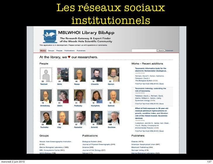Les réseaux sociaux                          institutionnels     mercredi 2 juin 2010                         137