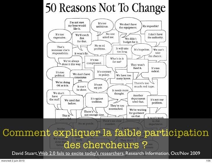Comment expliquer la faible participation            des chercheurs ?          David Stuart, Web 2.0 fails to excite today...