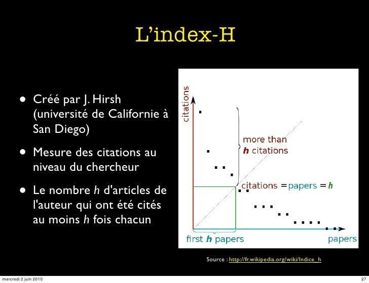 L'index-H           • Créé par J. Hirsh                (université de Californie à                San Diego)          • Me...