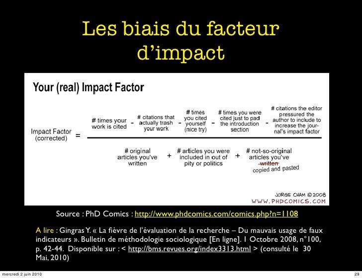 Les biais du facteur                                    d'impact                            Source : PhD Comics : http://w...