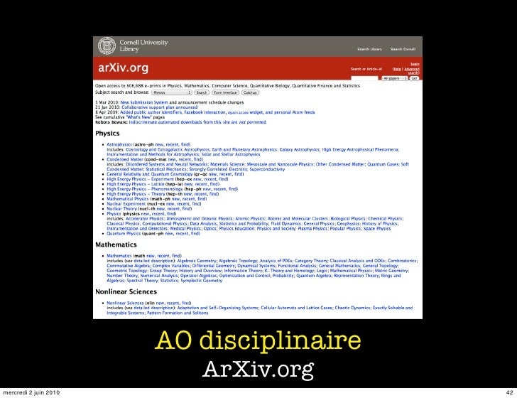 AO disciplinaire                           ArXiv.org mercredi 2 juin 2010                      42