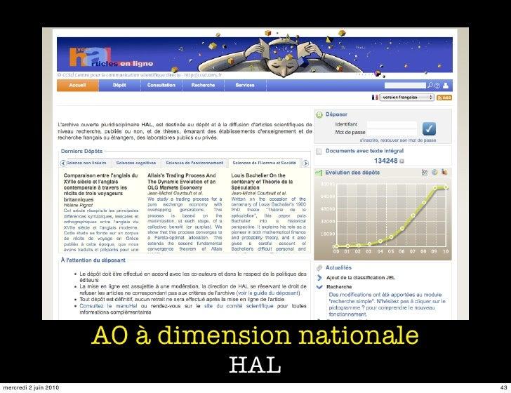 AO à dimension nationale                                  HAL mercredi 2 juin 2010                              43