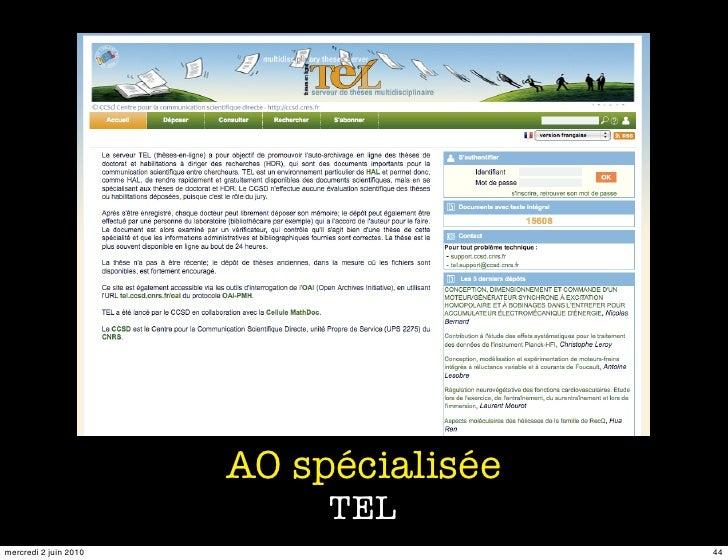 AO spécialisée                             TEL mercredi 2 juin 2010                    44