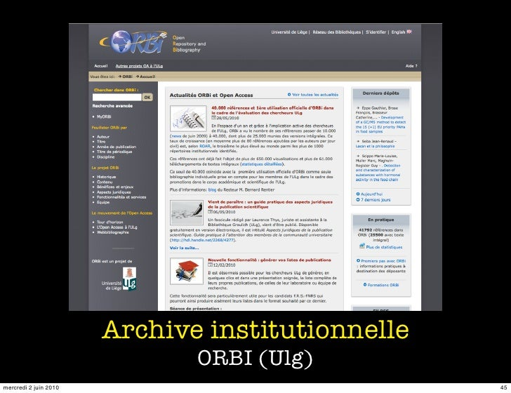 Archive institutionnelle                               ORBI (Ulg) mercredi 2 juin 2010                              45