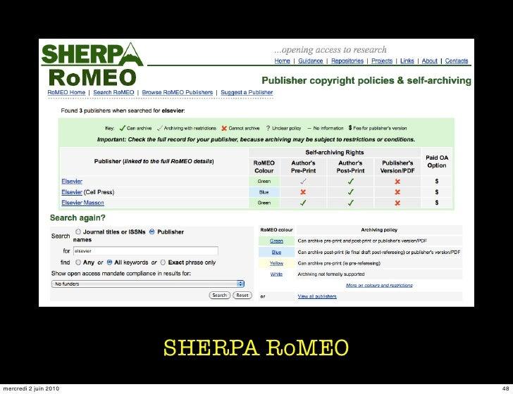 SHERPA RoMEO mercredi 2 juin 2010                  48