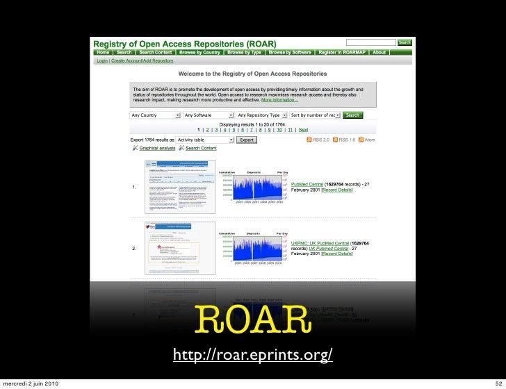 ROAR                        http://roar.eprints.org/ mercredi 2 juin 2010                              52