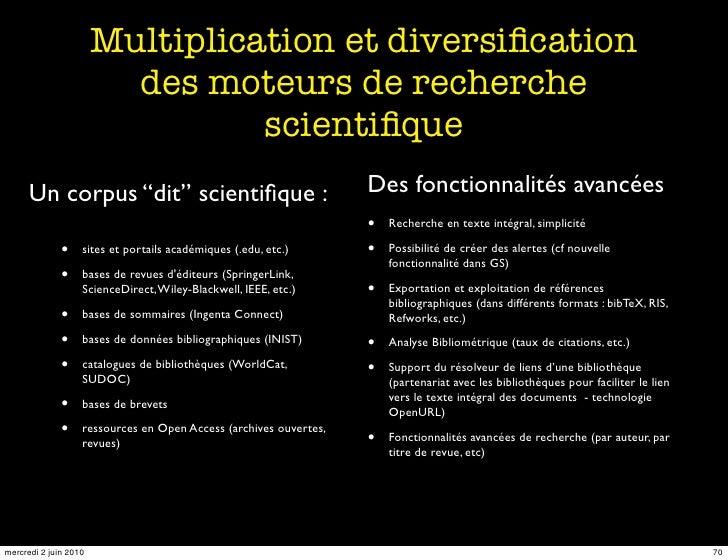 Multiplication et diversification                          des moteurs de recherche                                  scient...