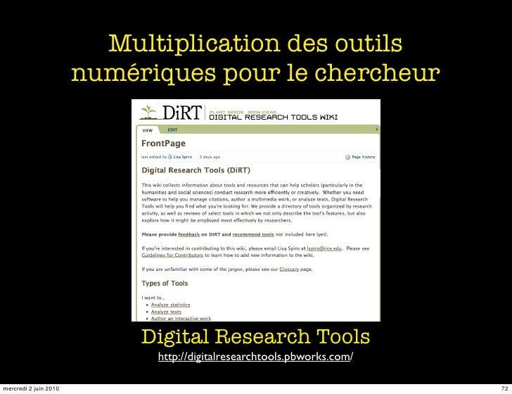 Multiplication des outils                        numériques pour le chercheur                                 Digital Rese...