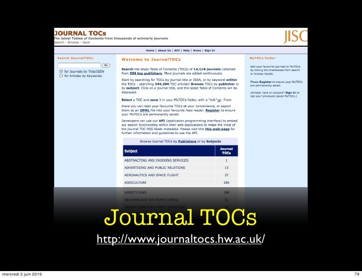 Journal TOCs                        http://www.journaltocs.hw.ac.uk/  mercredi 2 juin 2010                                ...