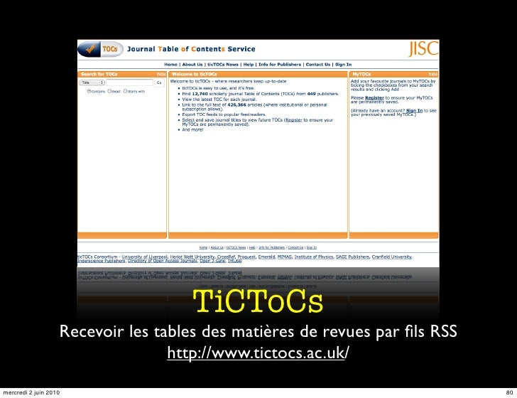 TiCToCs                    Recevoir les tables des matières de revues par fils RSS                                   http:/...