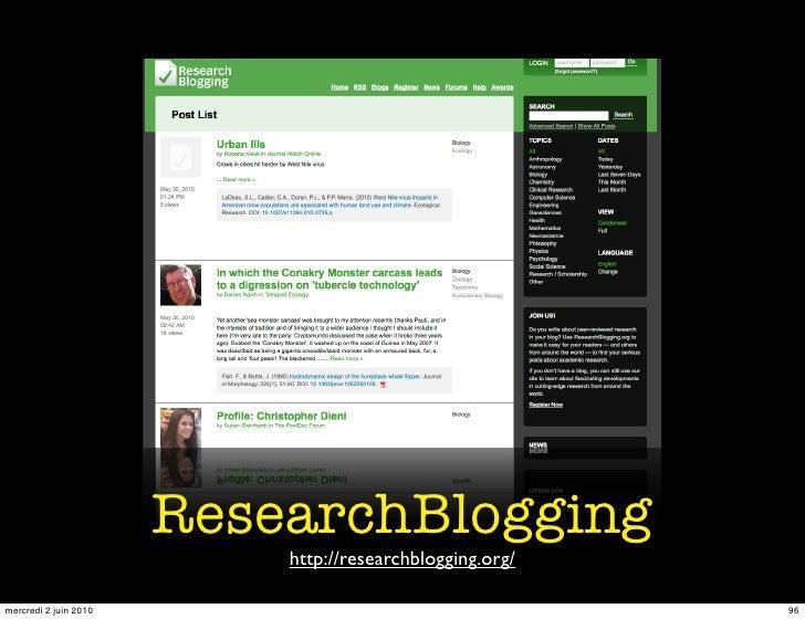 ResearchBlogging                            http://researchblogging.org/  mercredi 2 juin 2010                            ...