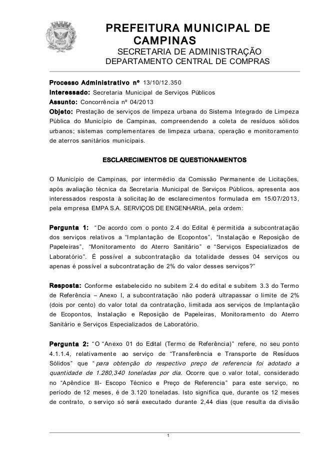 PREFEITURA M U NICIPAL DE CAMPINAS SECRETARIA DE ADMINISTRAÇÃO  DEPARTAMENTO CENTRAL DE COMPRAS Pr oc e ss o A d m i n i s...