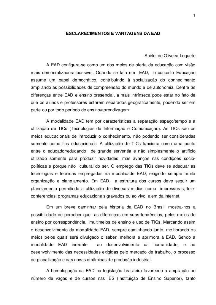 1                 ESCLARECIMENTOS E VANTAGENS DA EAD                                                         Shirlei de Ol...