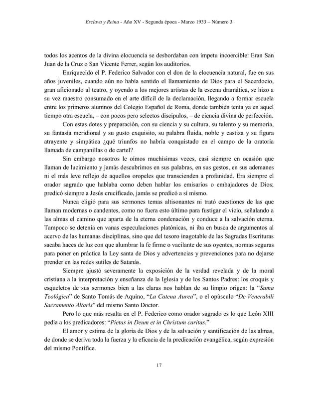Esclava y Reina - Año XV - Segunda época - Marzo 1933 – Número 3 26 A impulsos de su gran arrepentimiento por haber sido c...