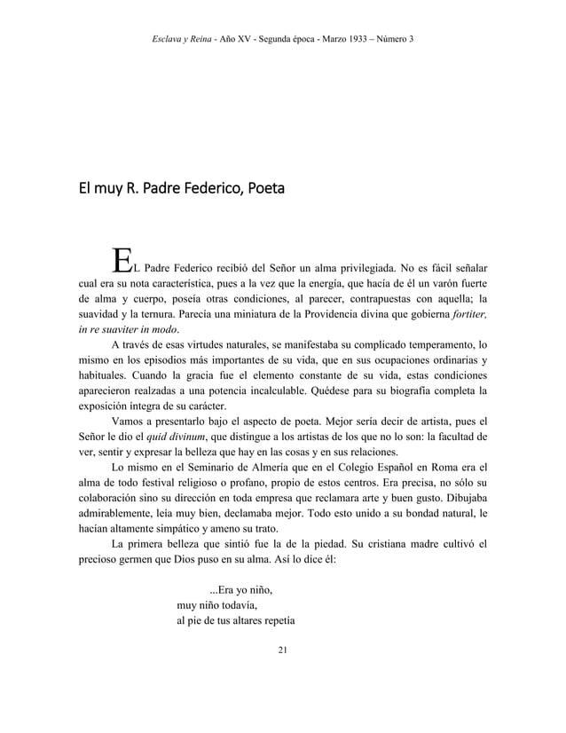 Esclava y Reina - Año XV - Segunda época - Marzo 1933 – Número 3 30 El P. Federico Salvador, como escritor ascético. NTRE ...