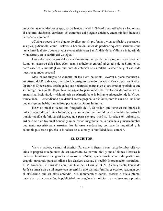 """Esclava y Reina - Año XV - Segunda época - Marzo 1933 – Número 3 40 salvar al mundo"""". Y tanto ellas como ellos han de trab..."""