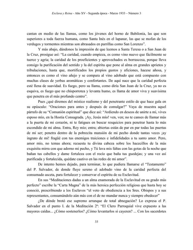 Esclava y Reina - Año XV - Segunda época - Marzo 1933 – Número 3 42 Principales efemérides de la vida del M. R. P. F. Salv...