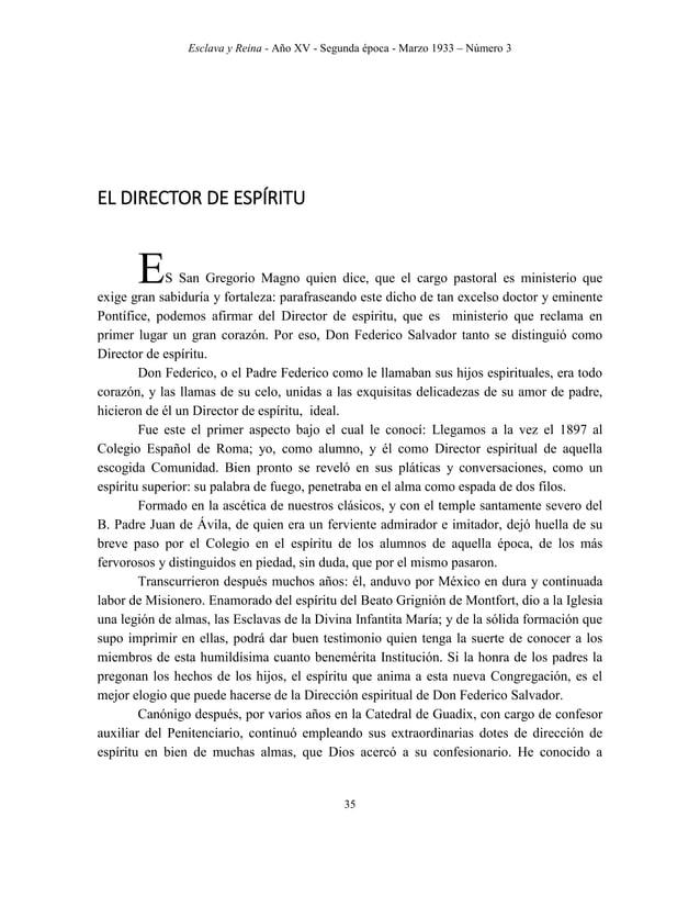 """Esclava y Reina - Año XV - Segunda época - Marzo 1933 – Número 3 44 22 Julio 1905. – Se publicó en la Revista """"El Buen Con..."""