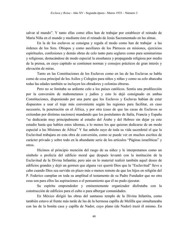 Esclava y Reina - Año XV - Segunda época - Marzo 1933 – Número 3 49 honor de la Divina Infantita (en prosa) – Del Culto de...