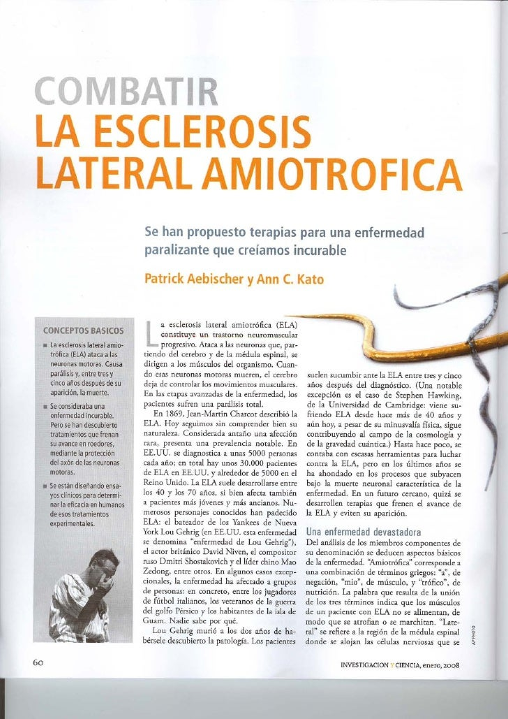 La esclerosis lateral amiotrófica