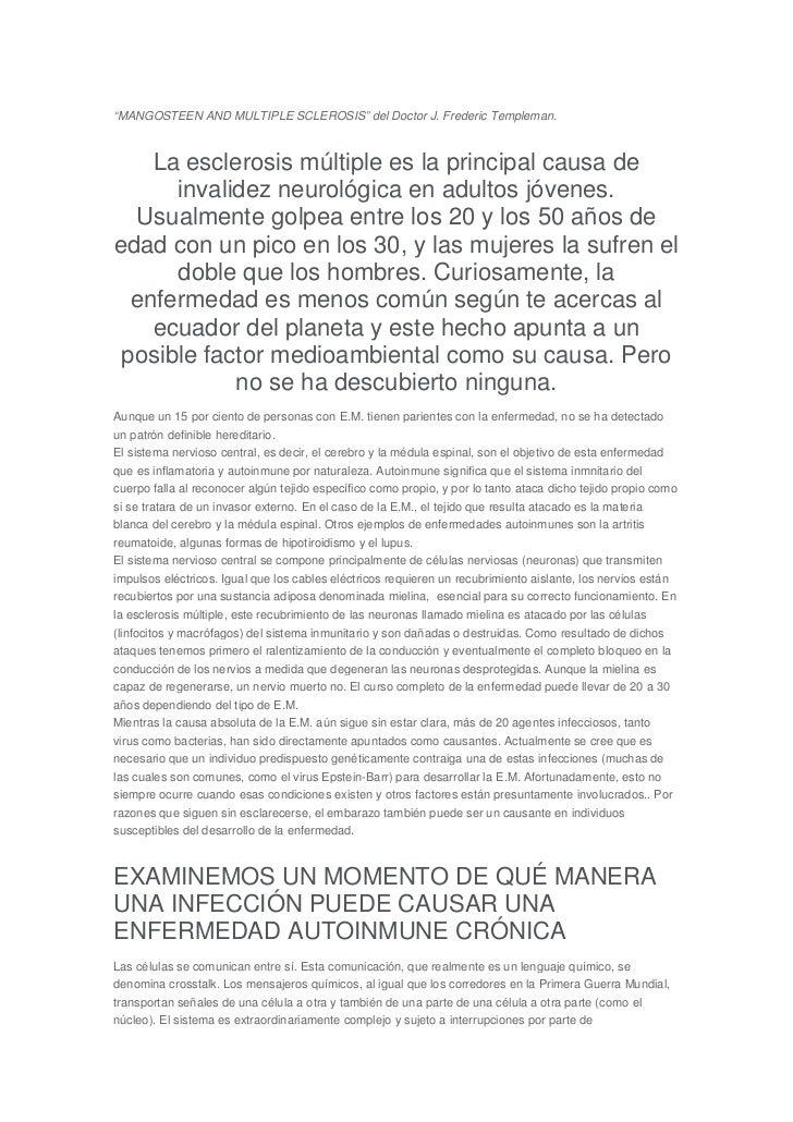 """MANGOSTEEN AND MULTIPLE SCLEROSIS"" del Doctor J. Frederic Templeman.    La esclerosis múltiple es la principal causa de  ..."