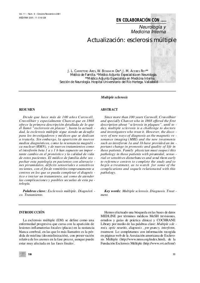 Vol. 11 – Núm. 9 – Octubre/Noviembre 2001 MEDIFAM 2001; 11: 516-529  EN COLABORACIÓN CON ..... Neurología y Medicina Inter...