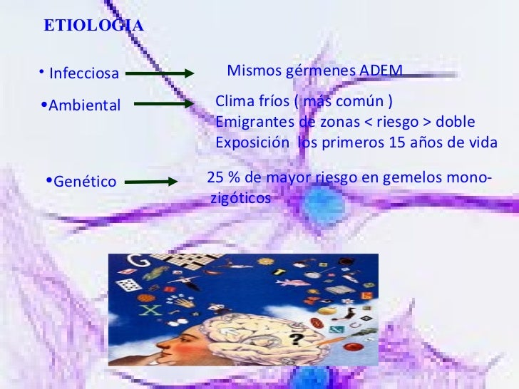 ETIOLOGIA <ul><li>Infecciosa </li></ul>Mismos   gérmenes ADEM <ul><li>Ambiental </li></ul>Clima fríos ( más común ) Emigra...