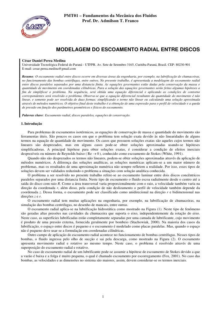 Modelamiento de Flujo Radial entre Discos