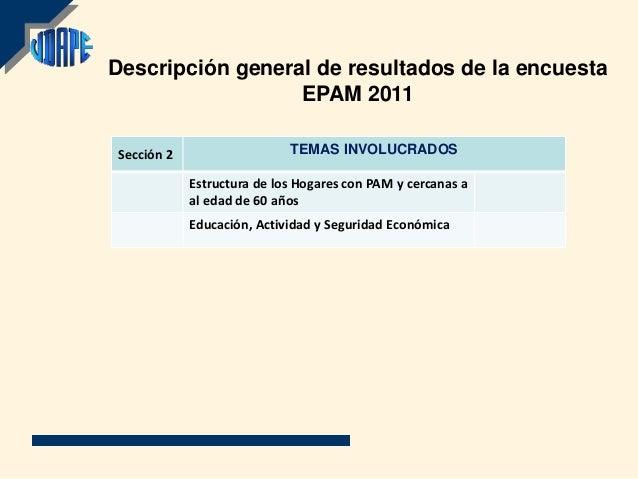 Descripción general de resultados de la encuesta                  EPAM 2011Sección 2                   TEMAS INVOLUCRADOS ...