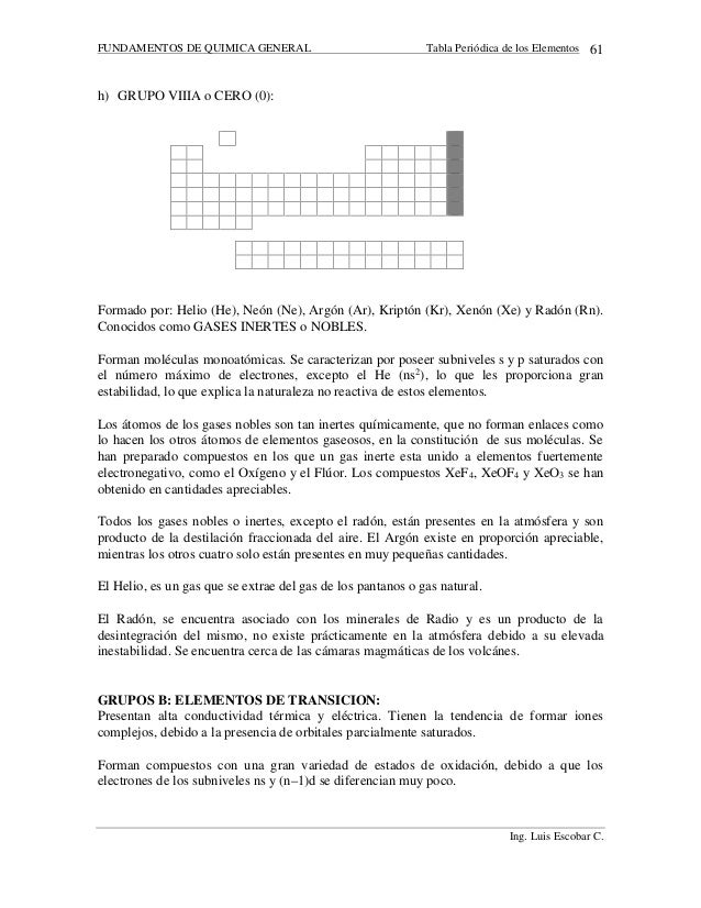 58 fundamentos de quimica general tabla peridica de los elementos - Tabla Periodica De Los Elementos Gaseosos