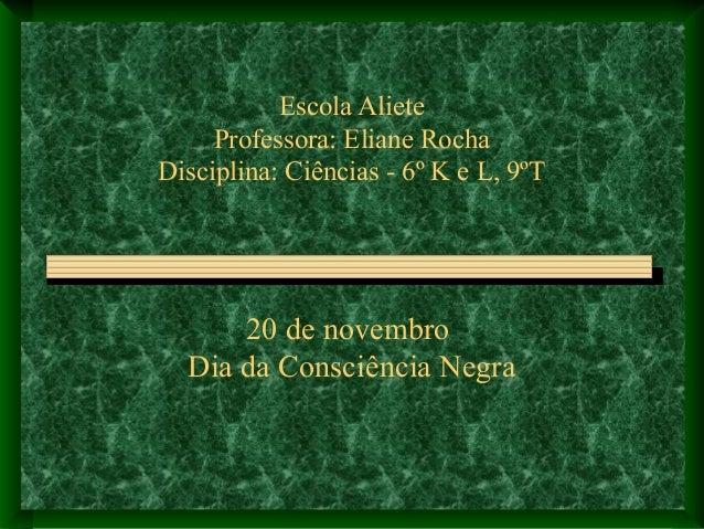 Escola Aliete Professora: Eliane Rocha Disciplina: Ciências - 6º K e L, 9ºT 20 de novembro Dia da Consciência Negra