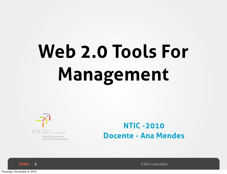 Web 2.0 Tools For                              Management                                        NTIC -2010               ...