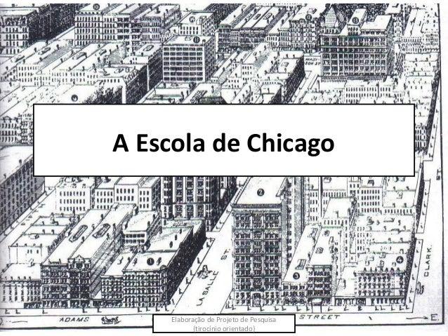 A Escola de Chicago     Elaboração de Projeto de Pesquisa            {tirocínio orientado}
