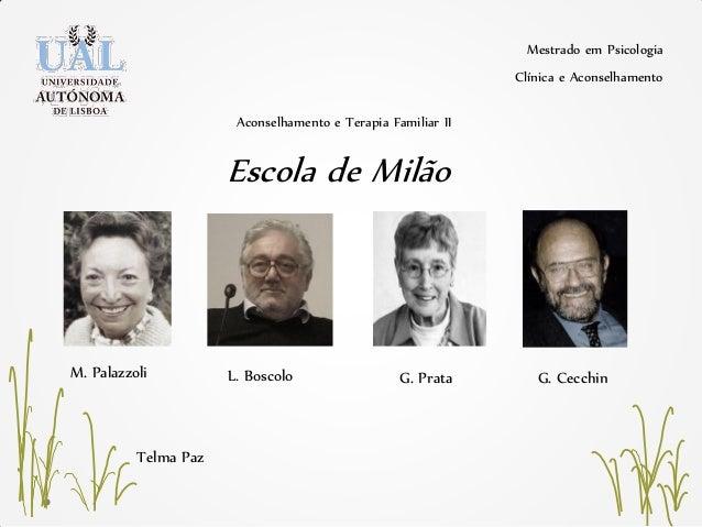 Mestrado em Psicologia Clínica e Aconselhamento Telma Paz Escola de Milão Aconselhamento e Terapia Familiar II M. Palazzol...