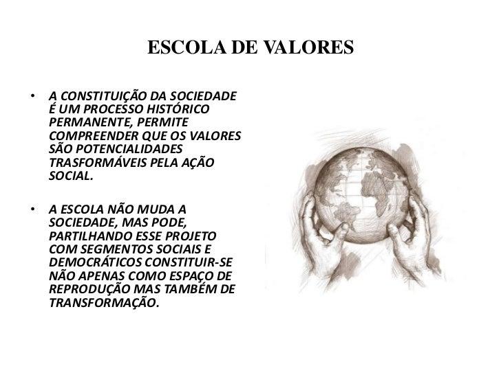 ESCOLA DE VALORES<br />A CONSTITUIÇÃO DA SOCIEDADE É UM PROCESSO HISTÓRICO PERMANENTE, PERMITE  COMPREENDER QUE OS VALORES...