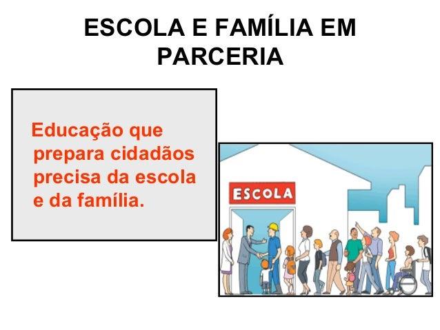 ESCOLA E FAMÍLIA EM PARCERIA Educação que prepara cidadãos precisa da escola e da família.